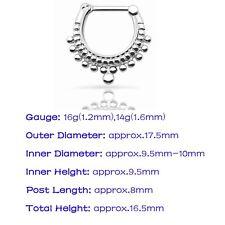 316L Steel Nose Ring Septum Clicker Cz Gem Cartilage Daith Helix Ear Piercing