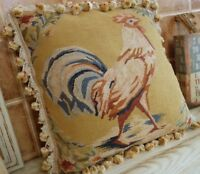 "17"" Chic Shabby Fine Handmade Primitive Rooster French Aubusson Pillow Cushion"