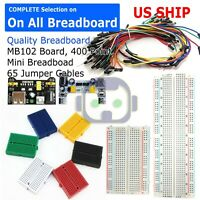 Breadboard MB-102 Power Supply 65Pcs Jumper Cables Wires 170 400 830 Tie Points