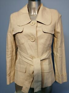 NEXT PETITE Ladies Size 6 Beige Linen Button Up Jacket Coat