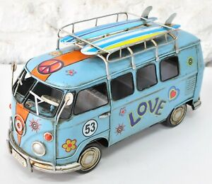 Detailed Hand Made Blue Color Peace Tin Plate Mini Bus with Surfboard Figurine