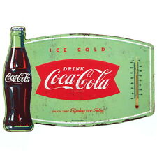 Coca-Cola Bottle Embossed Tin Thermometer Sign Vintage Style Diner Decor 14 x 10