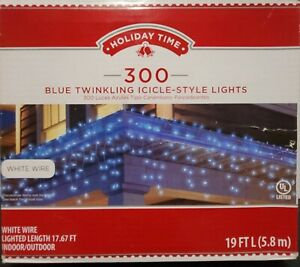 Holiday Time 300 Blue Twinkling Icicle Style Lights White Wire 19' L