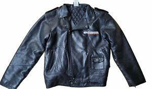 Harley Davidson Youth Boys Upwing Eagle Biker Pleather Jacket Black 0396074 8/10
