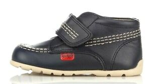 KICKERS KICK HI B BABY INFANT KIDS CHILDRENS LEATHER NAVY BROWN CASUAL BOOT