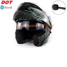 DOT Black Green Motorcycle Bluetooth Helmet Modular Dual Visor Flip Up Full Face