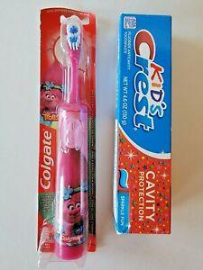 Colgate Kids Trolls Pink Poppy Powered Toothbrush & Kid's Crest Toothpaste 01/24