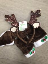 CLAIRE' ACCESSORIES CHILDS REINDEER ANTLER CHRISTMAS HEADBAND CUFFS TAIL HAIR