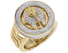 Yellow Gold Finish Men's 3D Pharaoh Real Diamond Designer Pinky Ring .33ct 22MM