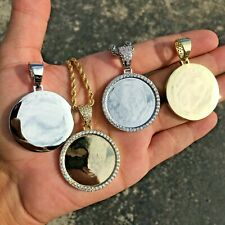 14K Gold Silver Plated Iced Photo Pendant Medallion w/Rope Tennis chain no photo