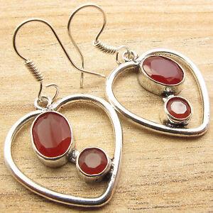 Facetted CARNELIAN 2 Gem HEART Earrings ! Silver Plated Metal Jewellery NOUVEAU