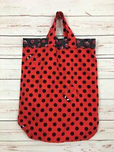Ladybug Polka Dot Red Black Cotton Tote Book Bag