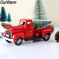Xmas Vintage Red Metal Truck Gift Car Toy Model Christmas Party Table Top Decor