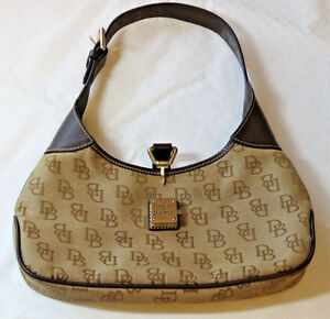 Dooney & Bourke D&B brown shoulder purse bag satchel leather canvas outlet GUC