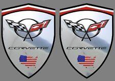 2 adhésifs stickers CORVETTE C5 support chrome (à coller sur les ailes avant)
