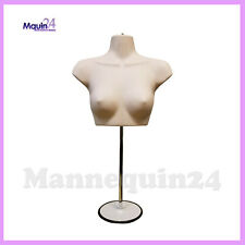 Female Torso Mannequin + Stand + Hanger - Flesh Women Chest Dress Form