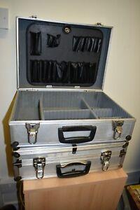 2 x Hard Aluminium Flight Carry Case Storage Tools Case Lockable. No Keys