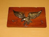 "11 1/2"" X 7"" X 1/2"" THICK METAL EAGLE ON WOOD WALL  PLAQUE"