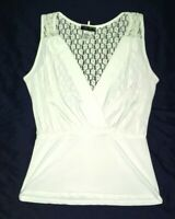 NWOT Kimcine Sleeveless White Lace Back Peplum Top/Blouse Womens Size M