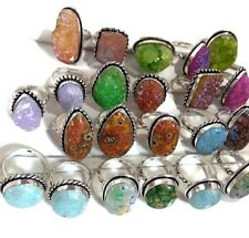 50 PCs. Lot !! Titanium Druzy & Dichroic Glass 925 Sterling Silver Plated Ring