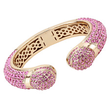 4288 BANGLE SIMULATED DIAMONDS PINK  HEAVILY ENCRUSTED ROSE GOLD CHUNKY