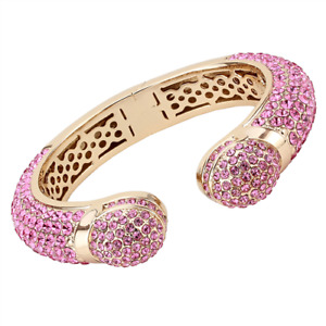 Pink bangle rose gold cz cubic zirconia hinged ball handmade chunky new 4288