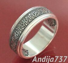 Modern Solid Silver 925 Russian Orthodox Band Ornament Mother of God Prayer Ring
