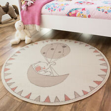 Cute Pink Baby Room Mats | Round Elephant & Balloon Mat | Nursery Rugs Baby Room
