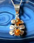 """pendentif fleur argent sterling 925 avec ambre """" larmes Le Dieux """""""