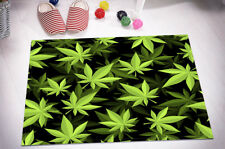 Kitchen Bathroom Non-slip Bath Door Mat Bathmat Green Marijuana Leaves Texture