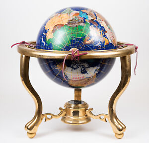 VINTAGE JERE WRIGHT SEMI PRECIOUS STONE TABLE GLOBE ON BRASS STAND WITH COMPASS
