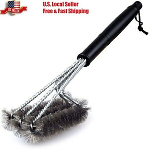 BBQ Grill Brush Barbecue Grate Cleaner Stainless Steel for Rack Burner, Weber