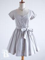 🌹brownie bee🌹Polka Dot Dress Bowknot Gray LARME Dainty Lolita Japan-M E315