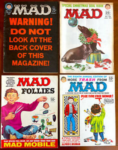 4 Classic MAD Magazines from 1962-1966!  VG to F+!  #73, 84, Follies 4, Trash 8