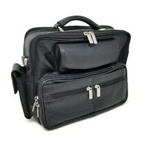 Wilsons Vintage Genuine Black Leather Organizer Messenger Bag 12 x 12 x 4