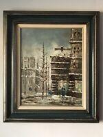 CAROLINE BURNETT FRENCH OIL PAINTING 1960s MODERN ABSTRACT STREET SCENE FRANCE