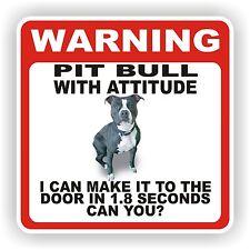 PIT BULL BLACK DOOR  WARNING DECAL STICKER PET DOG