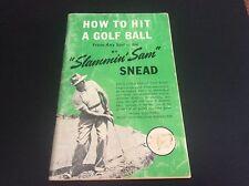 Sam Snead Golf Autograph Book How to Hit a Golf Ball