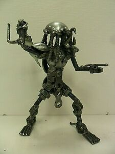 Metal Predator w/ Sword Mini Sculpture - Made From Recycled Metal -