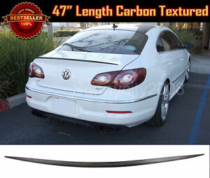 """47"""" Universal Carbon Textured Rear Trunk Deck Lip Spoiler Wing For Honda Acura"""