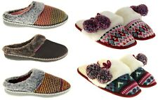 Womens Ladies Dunlop Synthetic Fur Warm Comfort Mule Slippers Size 3 4 5 6 7 8