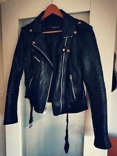 Cowhide Black Soft Leather Biker Jacket Motorcycle Jacket UK 12