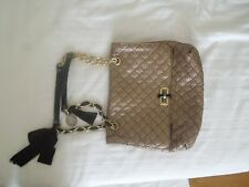 Metallic gold-tone quilted embossed leather Lanvin Happy bag with gold-tone hard