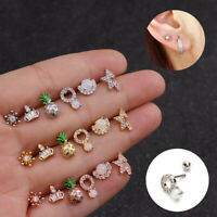 Surgical Steel Ear Piercing CZ Pineapple Stud Earrings Cartilage Helix Tragus