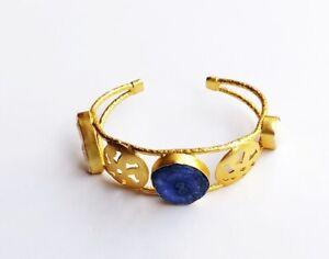Handmade Gold Polished Solar Quartz-Baroque Pearl Stone Cuff-C-011-3