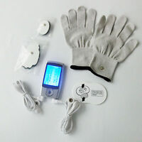 10 Modes LCD Mini Massager Muscle Electric Pulse Therapy Tens EMS Machine+Gloves