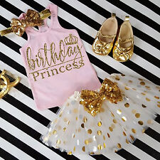 Kid Baby Girl Birthday Outfit Top T-shirt Party Skirt Princess Dress UK Stock