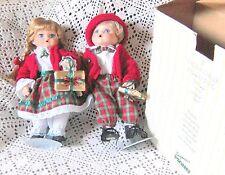 """Seymour Mann  Christmas Twins Porcelain Dolls 11"""" /Connoisseur Collection"""