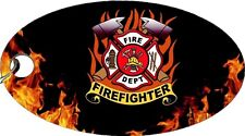 Firefighter Fire & Rescue Logo Flames Hero Aluminum Oval Keychain Key Chain New