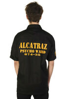 Men's Black Gothic Retro Punk Alcatraz Psycho Ward Prison Shirt Banned Apparel